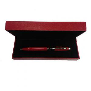 Penna rossa FERRARI a sfera con scatola regalo in eco-pelle rossa