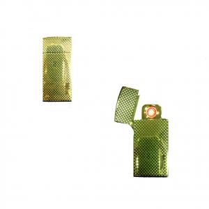 Accendino in metallo dorato anti-vento senza fiamma ricaricabile con cavetto USB