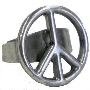 Anello con SIMBOLO PACE regolabile in metallo
