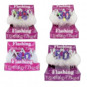 18-40-30-50 anni coroncina compleanno con marabù bianco numero luminoso con led