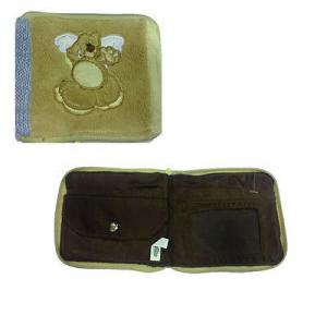 Portafoglio in peluche e lana biege e azzurro con zip e portamonete 12x11 cm