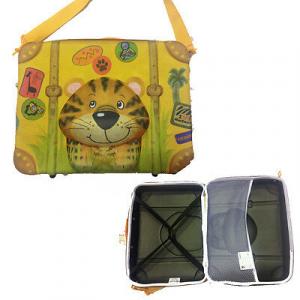 Valigia rigida arancione maniglione e tracolla con disegni 3D 41x30,5x11 cm da b