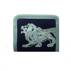LONSDALE portamonete con zip in stoffa bicolor celeste e blu 11x9 cm
