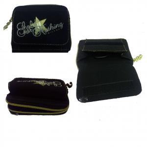 HOLLYWOOD portafoglio in stoffa nero decorato d'oro con zip e strappo 13,5x11 cm