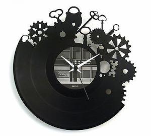 Orologio da parete in vinile originale con ingranaggi inciso a laser