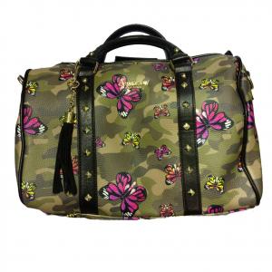 Borsa mano bauletto con tracolla in eco-pelle camouflage farfalle colorate 32x27