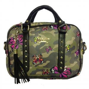 Borsa a mano tracolla regolabile in eco-pelle camouflage e farfalle 25,5x18,5 cm