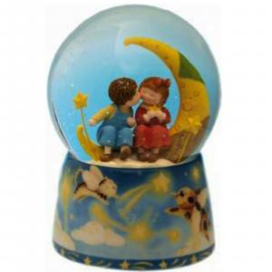 Carillon  palla di neve bimbi sulla luna con musica MOONLIGHT SERENADE cm 14