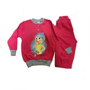 INSIDE OUT pigiama maglia+pantalone lungo fucsia e grigio cotone taglia 3/4 anni