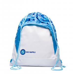 NAPOLI Sacca zaino coulisse tessuto+ecopell azzurro prodotto ufficiale 53x39 cm