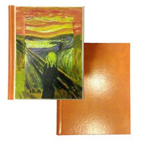 Album foto in eco-pelle arancione con Urlo di Munch su legno dipinto a mano