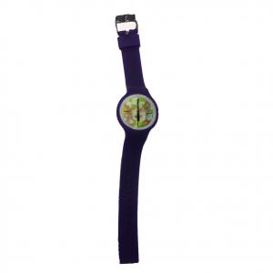 Orologio polso H2X acciaio e silicone viola con fiori intercambiabili da donna