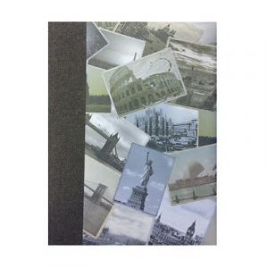 Album foto con città del mondo telato grigio 30 fogli in cartoncino e velina