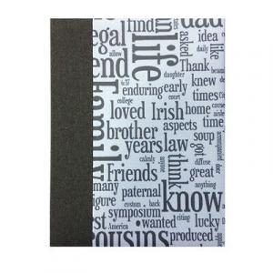 Album foto con parole telato grigio 30 fogli in cartoncino e velina