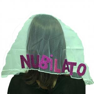 Nubilato festa cerchietto con velo tulle con scritta NUBILATO in fucsia glitter