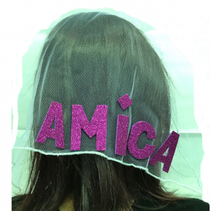 Nubilato festa cerchietto con velo in tulle con scritta AMICA fucsia glitter