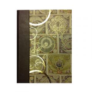 Album foto in carta con cartine antiche con dettagli dorati e costa in eco-pelle