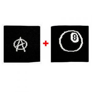 Coppia polsini con A anarchia + palla n.8  in spugna gruppi rock e bandiere