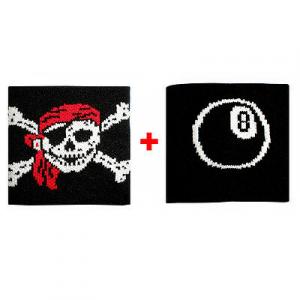 Coppia polsini con Teschio + palla n.8  in spugna gruppi rock e bandiere