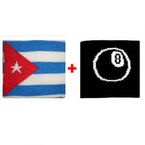 Coppia polsini con Cuba + palla n.8  in spugna gruppi rock e bandiere