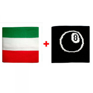 Coppia polsini con Italia + palla n.8  in spugna gruppi rock e bandiere