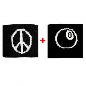 Coppia polsini con Pace + palla n.8  in spugna gruppi rock e bandiere