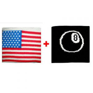 Coppia polsini con Usa + palla n.8  in spugna gruppi rock e bandiere