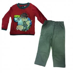 BEN 10 pigiama lungo mezza stagione in cotone rosso e grigio con stampa sul dav