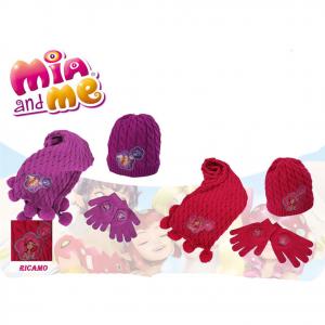 MIA E ME set sciarpa pon pon+guanti+cappello in morbida lana due colori da bambi