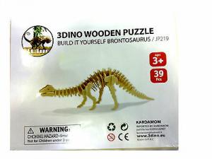 Dinosauro puzzle legno naturale 39 pezzi