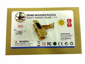 Aereo legno naturale alimentato a batteria solare 13 pezzi anni 6+