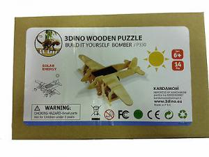 Aereoplano bielica legno naturale alimentato a batteria solare 14 pezzi anni 6+