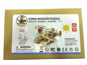 Elicottero bielica legno naturale alimentato a batteria solare 30 pezzi anni 6+