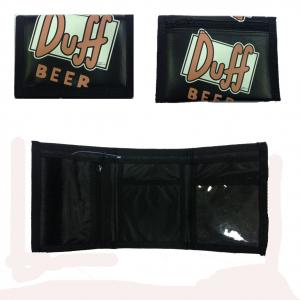 SIMPSON portafoglio birra DUFF in eco-pelle nero con strappo 12x9 cm original