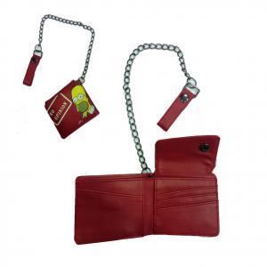 SIMPSON portafoglio rosso NO OPINION rosso in eco-pelle con catena 11x10 cm