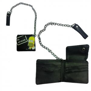 SIMPSON portafoglio NO OPINION nero in eco-pelle con catena 11x10 cm