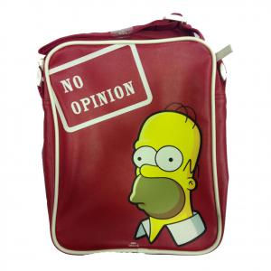 SIMPSON Homer tracolla regolabile rossa NO OPINION in eco-pelle 27x20x7,5 cm