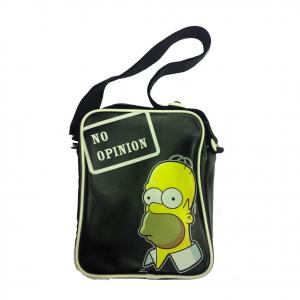 SIMPSON Homer tracolla regolabile nera NO OPINION in eco-pelle 27x20x7,5 cm