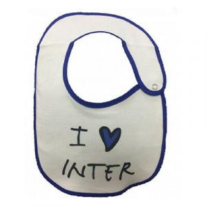 INTER bavaglino in cotone bianco i love inter bordato blu con automatico