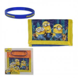 MINIONS set 2pezzi portafoglio con strappo + braccialetto in gomma da bambino/a