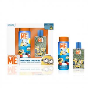 MINIONS set da profumo eau de toilertte 75ml + bagno doccia 250 ml da bambino/a
