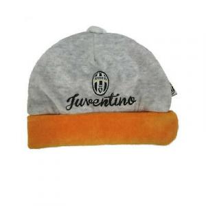 JUVENTUS cappellino neonato in ciniglia grigio e arancio ricamato con stemma