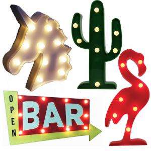 lampada unicorno cactus fenicottero bar in plastica con luci led ,da arredamento