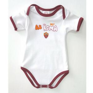 ROMA body neonato in cotone bianco bordato rosso manica corta varie taglie
