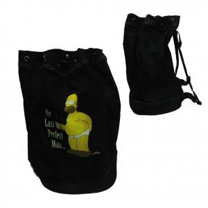 SIMPSON borsone sacca nero da viaggio/tempo libero/palestra in stoffa 30,5x28x47