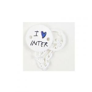 INTER clip succhietto bianco con catenella I love inter