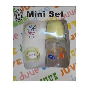 JUVENTUS mini set da neonato/bimbo clip+ succhiotto juve + biberon magica juve