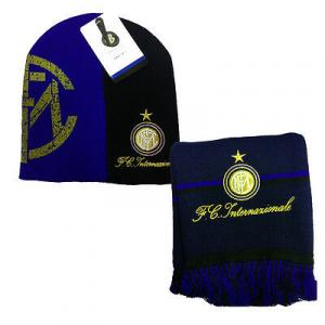 INTER set sciarpa e cappello nero e blu in lana da adulto e bambino
