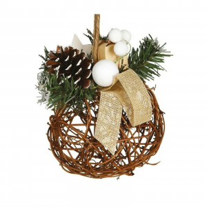 Palla natale di vimini per decorazione natalizia di 16 cm