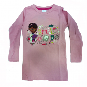 DOTTORESSA PELUCHES maglia maniche lunghe  in cotone rosa stampato varie taglie